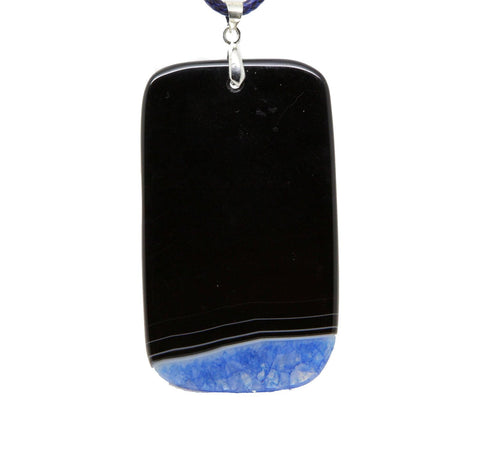 Blue Dragon Vein Agate Gemstone  Teradrop Necklace pendant necklace  16. inch with waxed  cord - Pendants and Charms