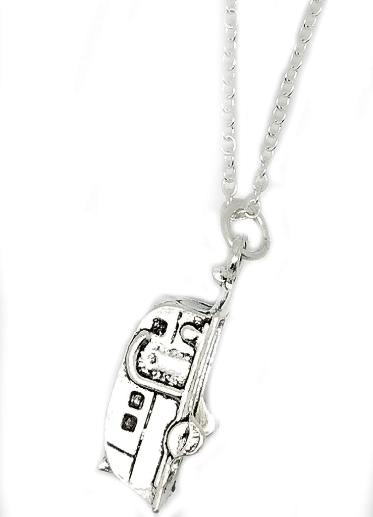 Camper Van Camping Tibetan Silver Charm Sterling Chain Necklace in an Organza Gift Bag