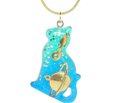 Resin Cat Gold Chain Necklace in an Organza Gift Bag
