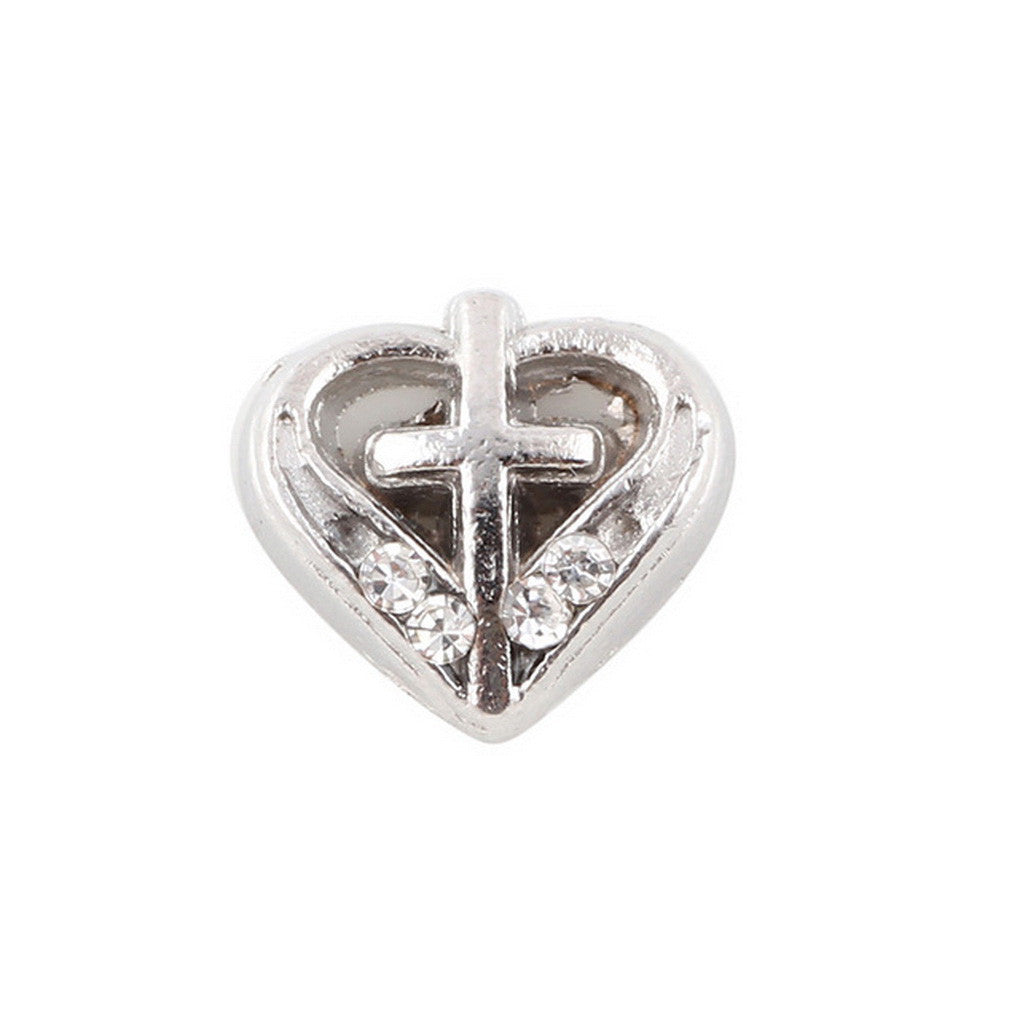 Floating charms Silver Heart and Cross and 5 birthstones locket Charm Bracelets necklace - Pendants and Charms