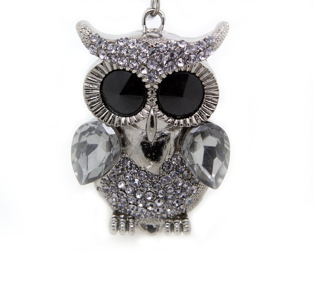 Large eyes white gold pewter tone owl pendant necklace rhinestone (pewter) - Pendants and Charms