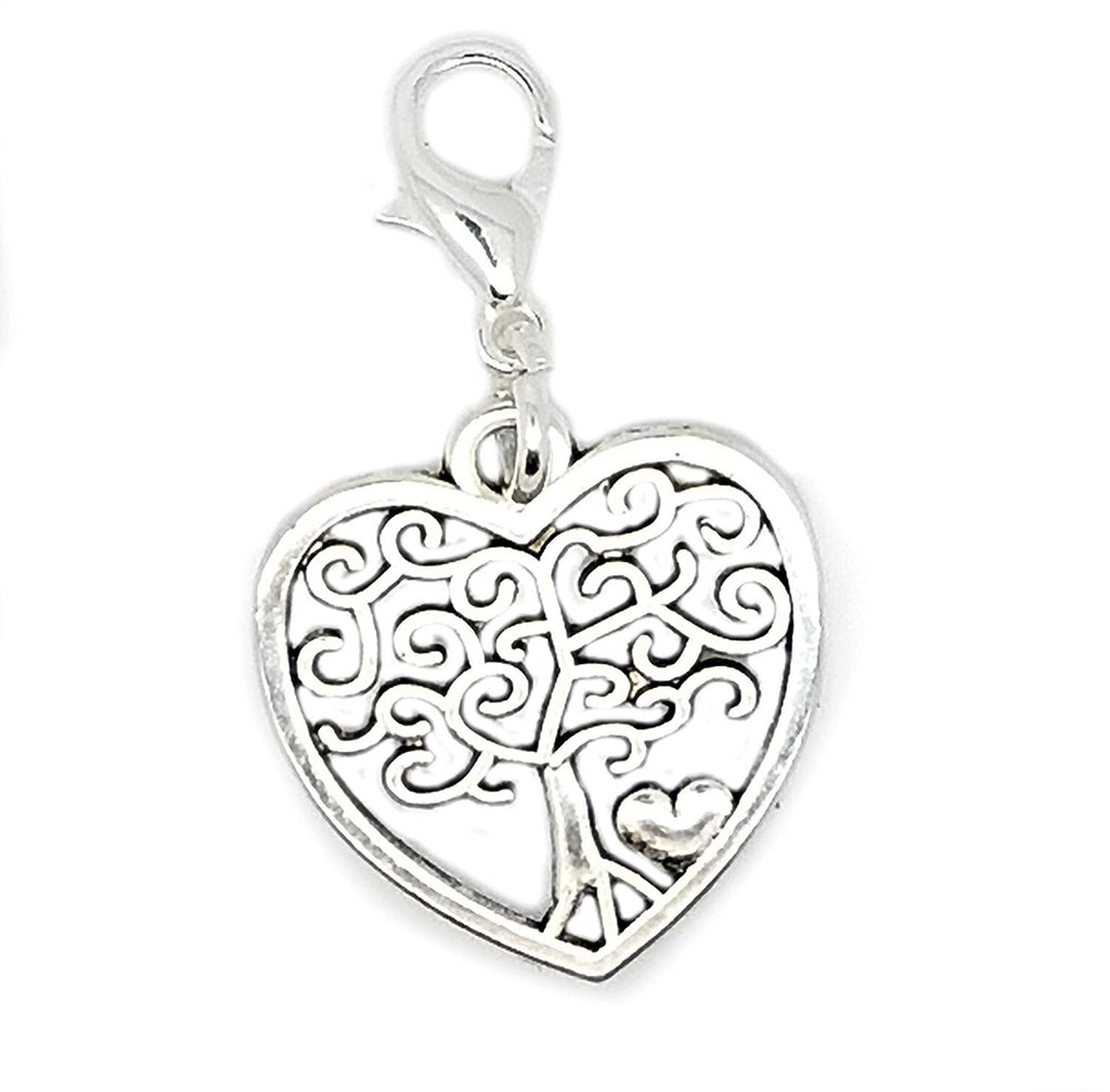 Filigree Heart Dangle Bead Lobster Silver European Charm Chain Bracelets in Organza Gift Bag (Tree of Life Heart Clip on)