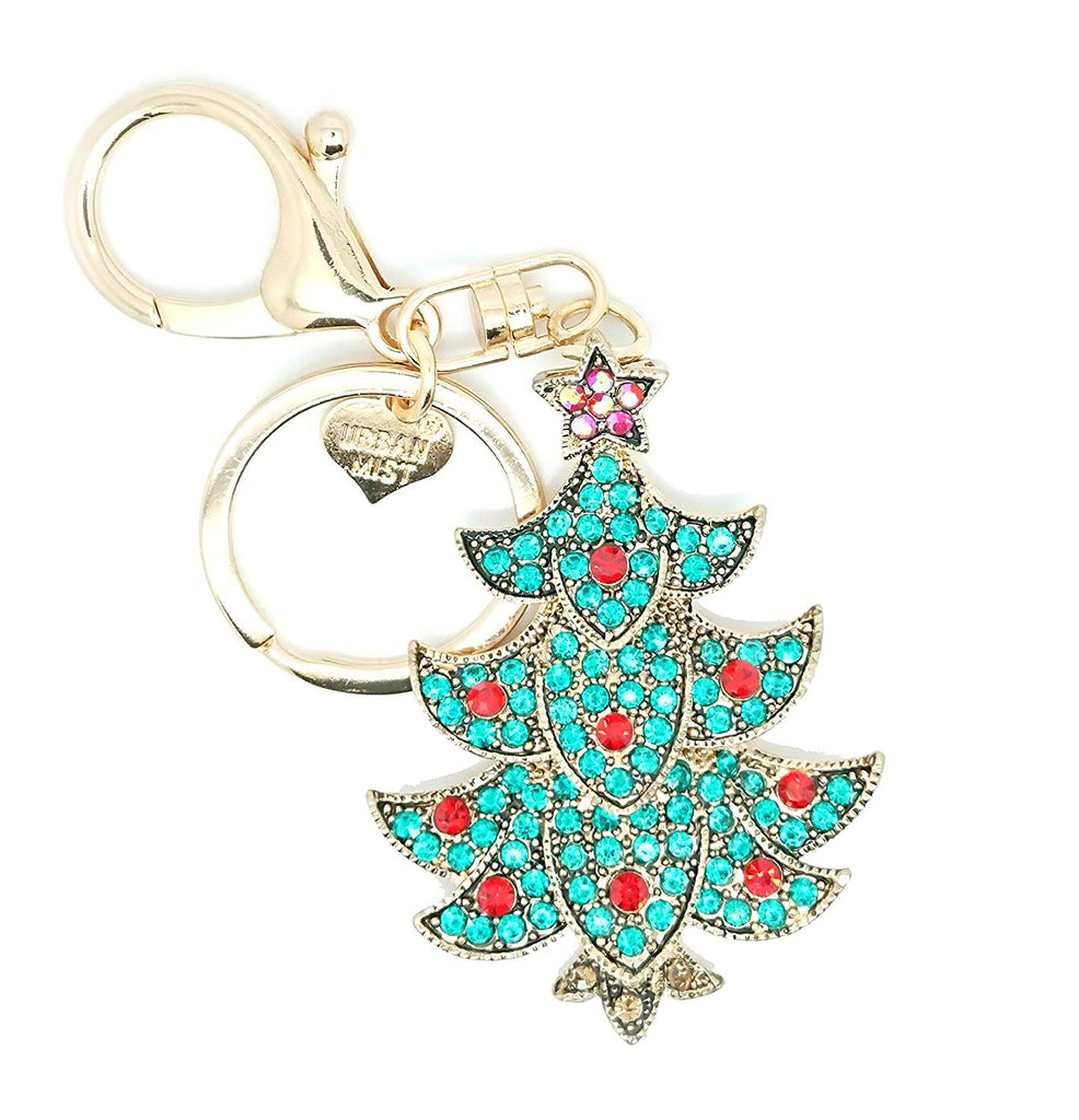 Christmas Tree Green Rhinestones Diamante Key Ring Key Chain Charm Pendant Accessory Keyring - Pendants and Charms