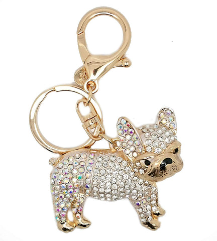 Bulldog Pug AB Rhinestones Diamante Enamel Key Ring Key Chain Charm Pendant Accessory Keyring - Pendants and Charms