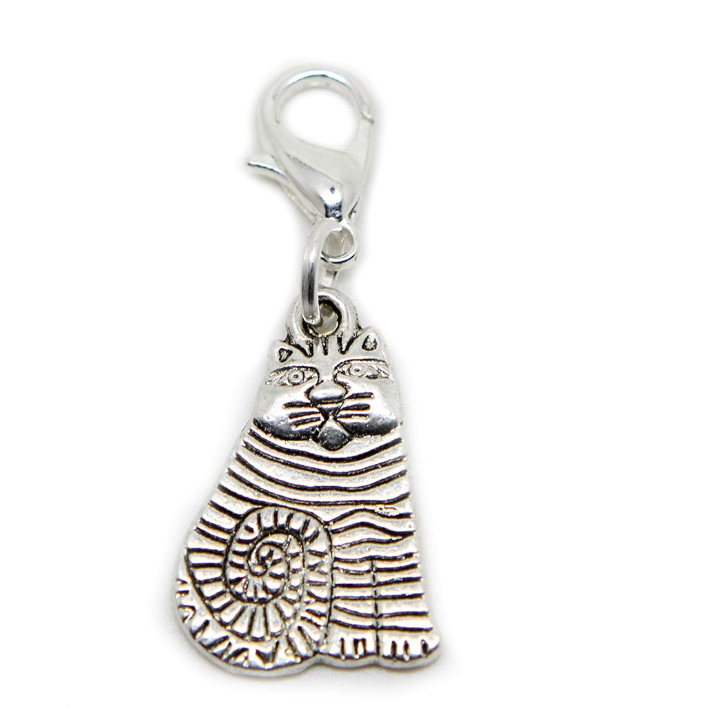 Sitting Cat Silver Tone Charms for Locket Necklace and Bracelet