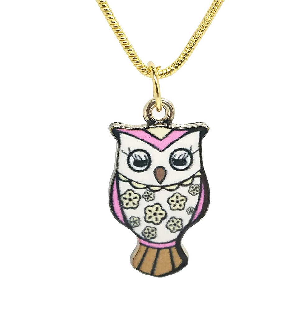 jewelleryjoy Gold Plated Enamel Owl Pendant Charm Chain Necklace in an Organza Gift Bag (Blue)