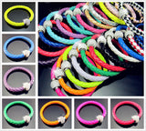 Leather Wrap Wristband Cuff Punk Magnetic Rhinestone Buckle Bracelet Bangle orange - Pendants and Charms