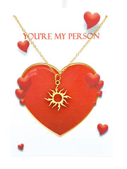 Valentines Necklace Stainless Steel You are My Person Sun Jewellry with Message in Box