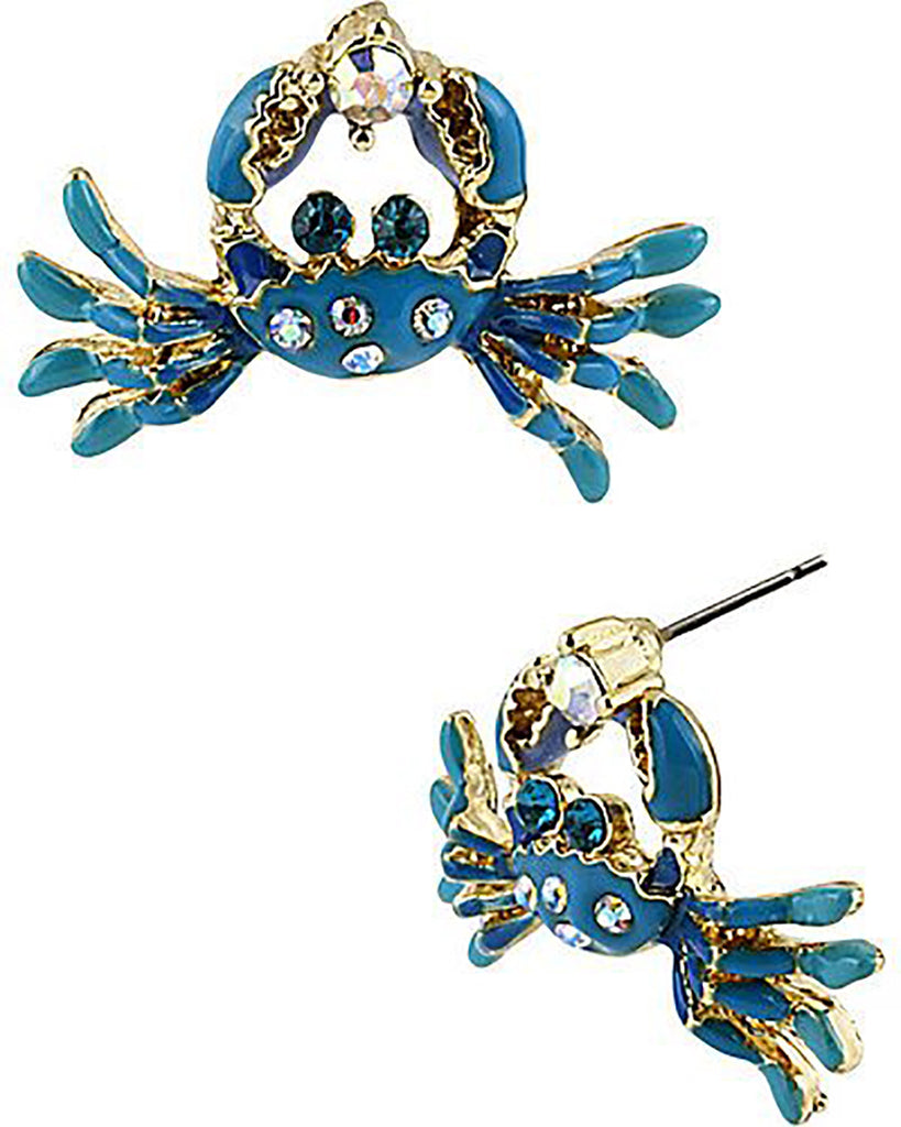 Blue Crab Crystal Rhinestones  Stud Fashion Earrings - Pendants and Charms