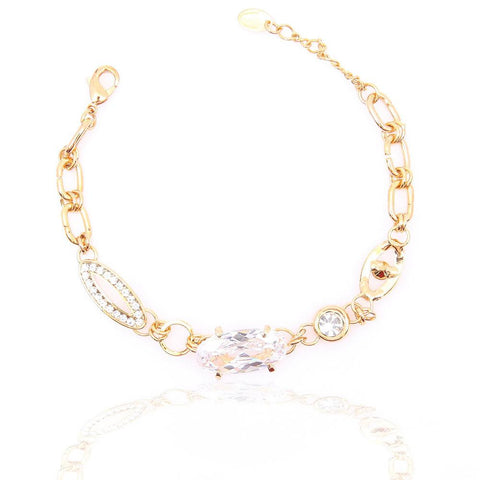 AMAZING GOLD PLATED CLEAR CRYSTAL BRACELET 480105 - Pendants and Charms