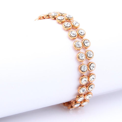 AMAZING ROSE GOLD PLATED CLEAR CRYSTAL BRACELET 480205 - Pendants and Charms