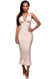 Nude Frill Long Sleeveless Bodycon Bandage Dress - Pendants and Charms