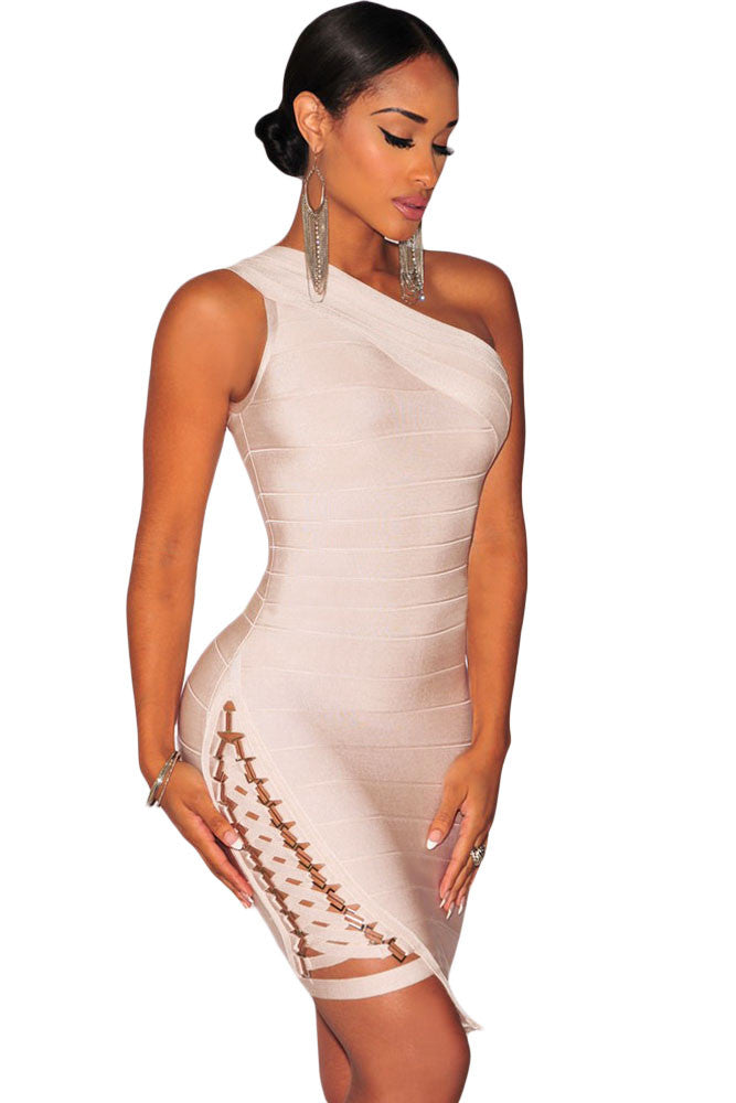 Apricot Lace up One Shoulder Bodycon Bandage Dress - Pendants and Charms