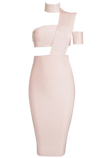 Nude Choker Sleeveless Studded Bodycon Bandage Dress - Pendants and Charms