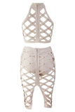 2 Pieces Top Skirt Apricot Lattice Caged Studded Bodycon Bandage Dress - Pendants and Charms