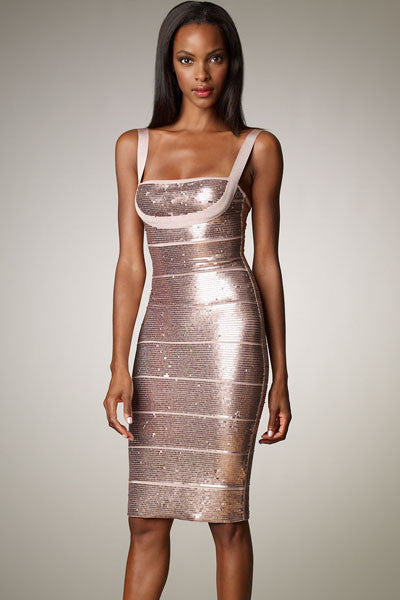 Nude Pink Sequin Bodycon Bandage Dress - Pendants and Charms