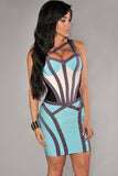 Blue White Colour Block  Strappy Bodycon Bandage Dress - Pendants and Charms