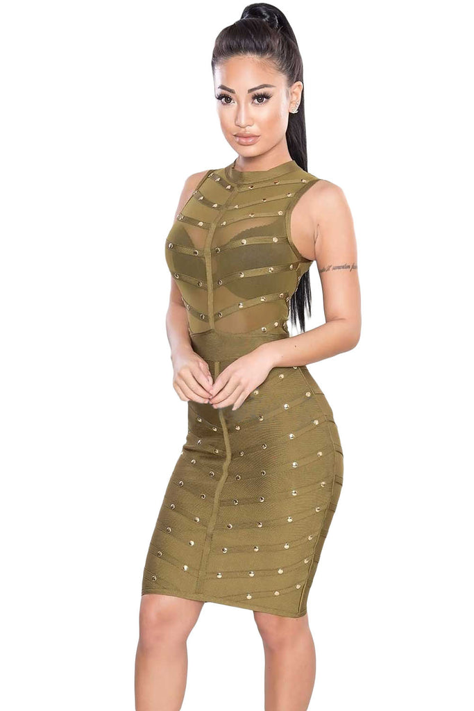 Green Sleeveless Studded Bodycon Bandage Dress - Pendants and Charms