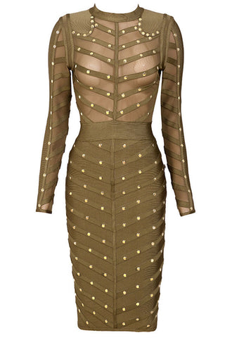 Army Green Studded Mesh Bodycon Bandage Dress - Pendants and Charms