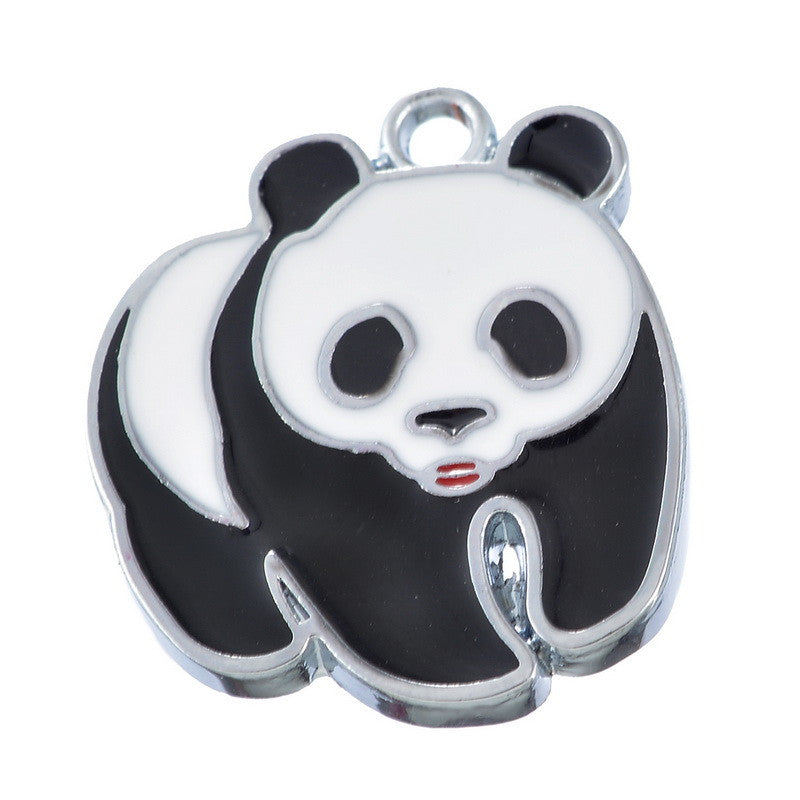 Silver Tone Enamel Panda Charms Pendants 23x20mm - Pendants and Charms