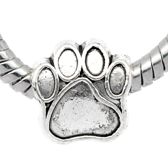 Silver Tone Bear's Paw Beads Fit Charm Bracelet - Pendants and Charms