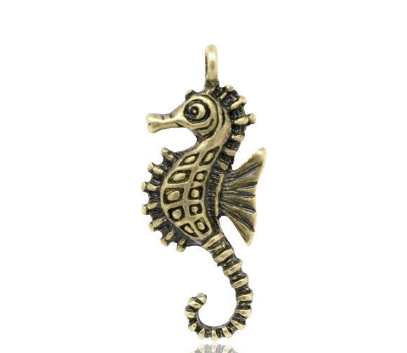 Bronze Tone Sea Horse Charm Pendants 29x11mm - Pendants and Charms