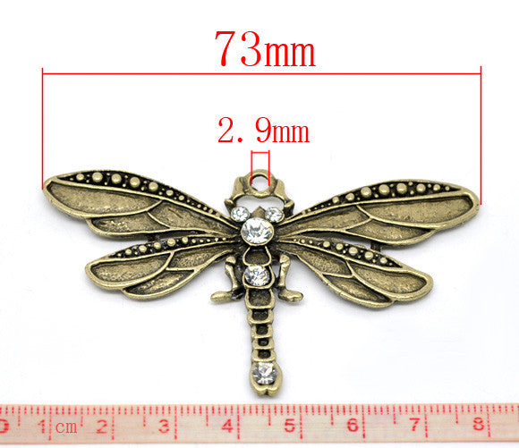 Bronze Tone Rhinestone Dragonfly Charm Necklace Pendants - Pendants and Charms