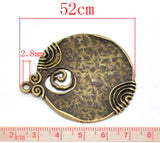 Bronze Tone Pattern Round Pendants 52x45mm - Pendants and Charms