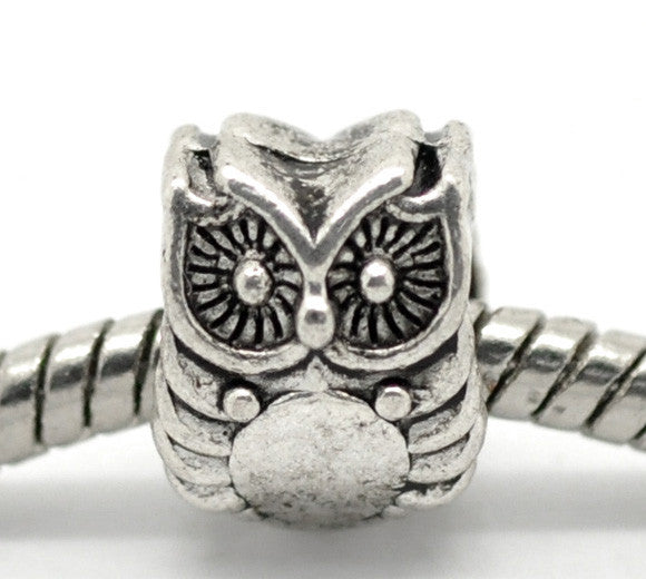Silver Tone Owl Beads Fit Charm Bracelet 10x8mm - Pendants and Charms