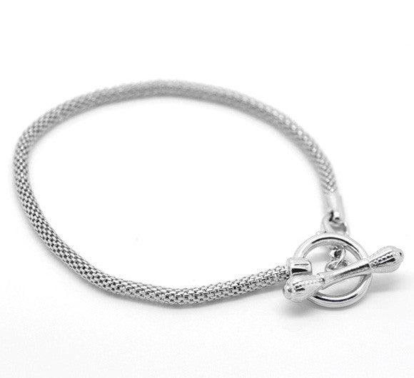 Silver Tone Toggle Clasp Bracelets Fit European Bead 21cm - Pendants and Charms