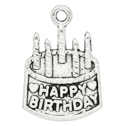 "Charm Pendants Birthday Cake ""Happy Birthday"" Silver Tone - Pendants and Charms"