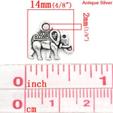 Charm Pendants Elephant Animal Silver Tone 14mmx12mm - Pendants and Charms