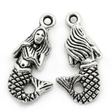 Charm Pendants Mermaid Girl Fish Silver Tone - Pendants and Charms