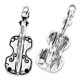 Charm Necklace Pendants Violin Silver Tone 28mmx11mm - Pendants and Charms