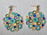 Blue large drop circle crystal earrings - Pendants and Charms