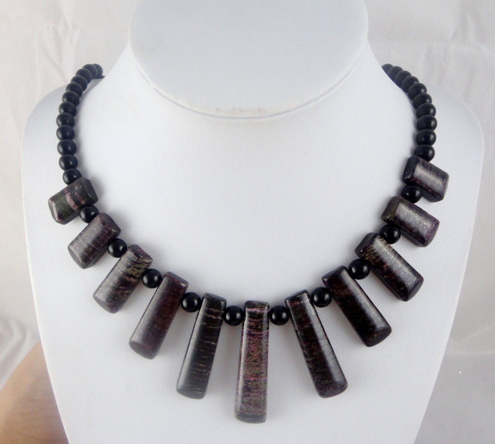 Green Black SEDIMENT JASPER & agate Handmade Gemstone Jewellery Necklace - Pendants and Charms
