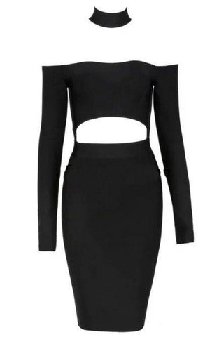 Black Two Piece Choker Top and Skirt Strappy Bodycon Bandage Dress - Pendants and Charms