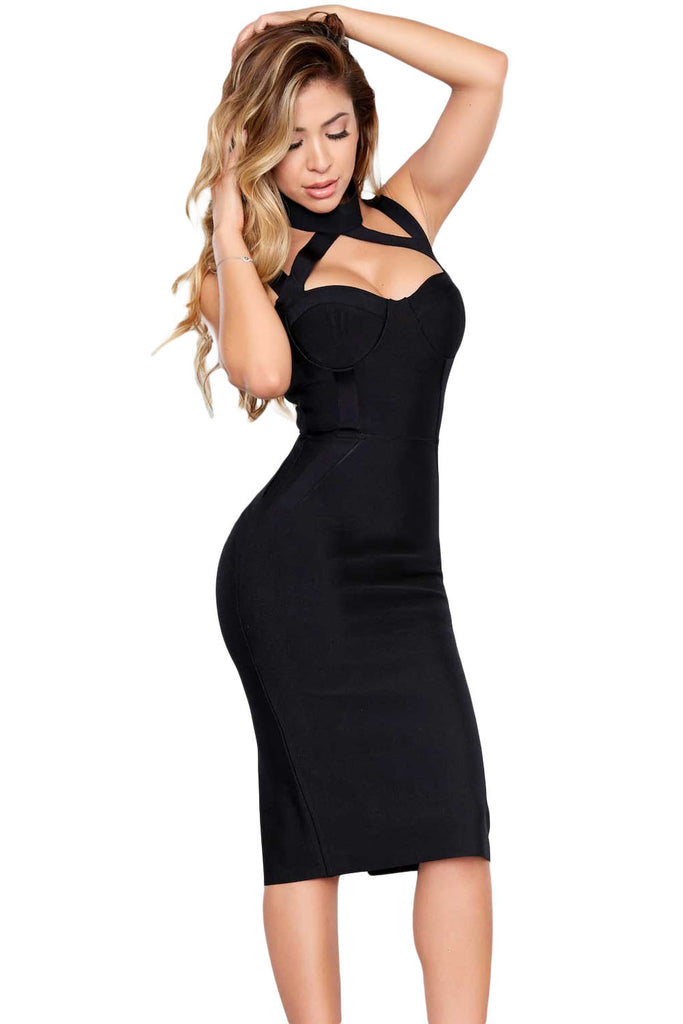 Black Choker Bodycon Bandage Dress