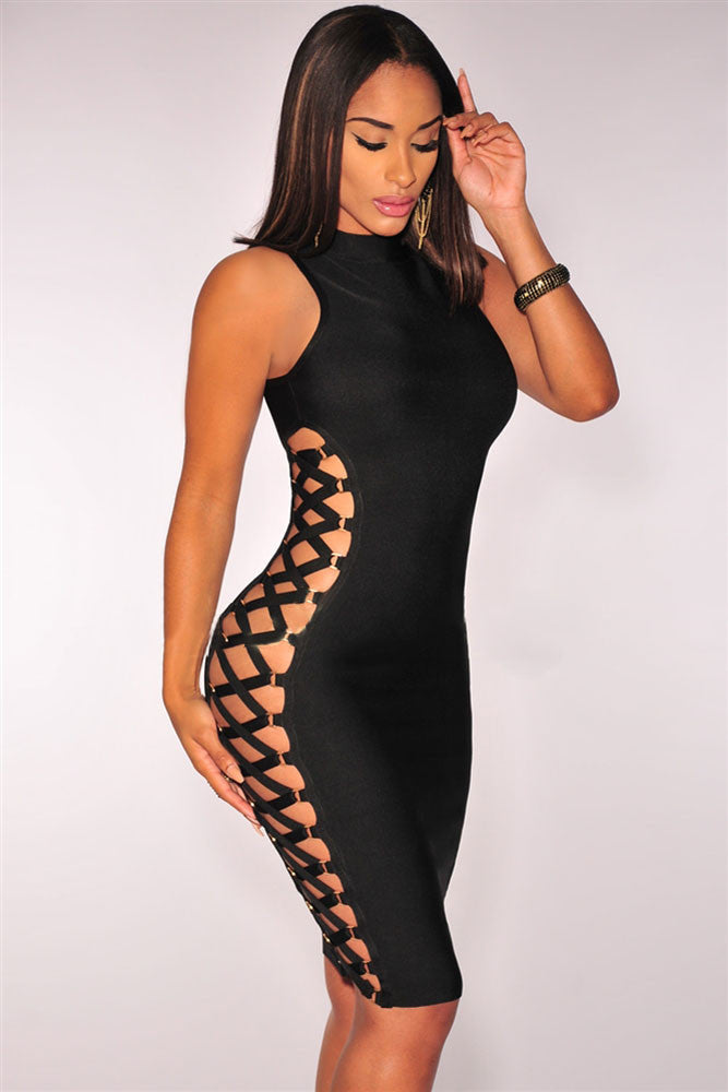 Black Lace up High Neck sleeveless Bodycon Bandage Dress - Pendants and Charms