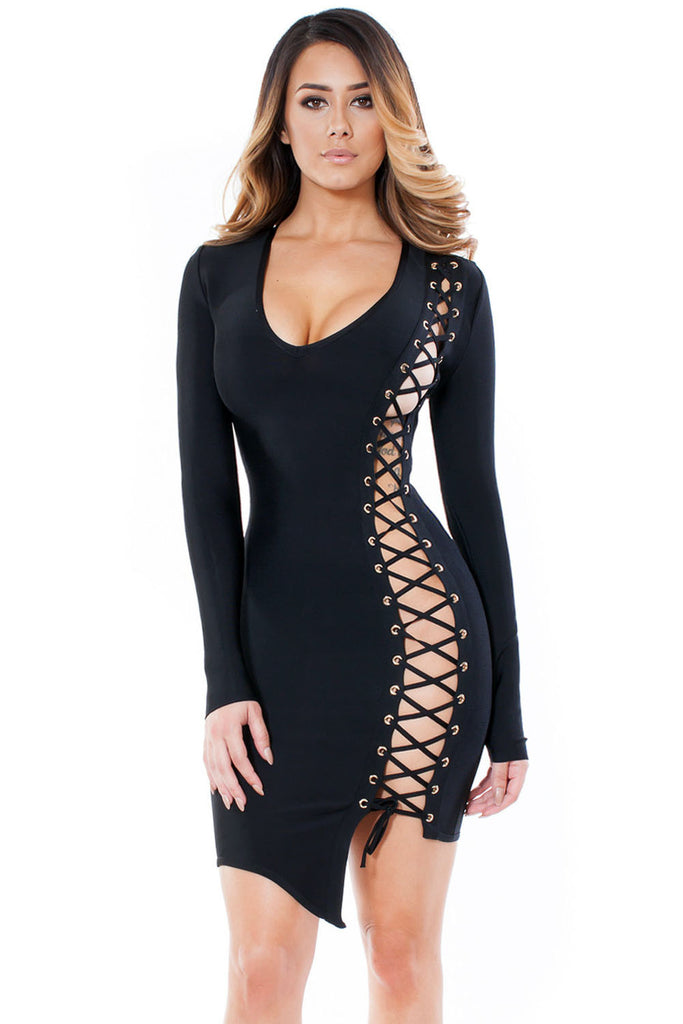 Black Long Sleeves asymmetrical side Bodycon Bandage Dress - Pendants and Charms