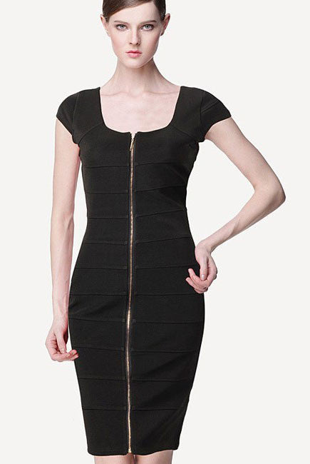 Black Front Zip Bodycon Bandage Dress - Pendants and Charms
