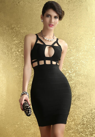 Black Cage Bodycon Bandage Dress - Pendants and Charms