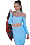 Blue Two Piece Choker Top and Skirt Strappy Bodycon Bandage Dress - Pendants and Charms