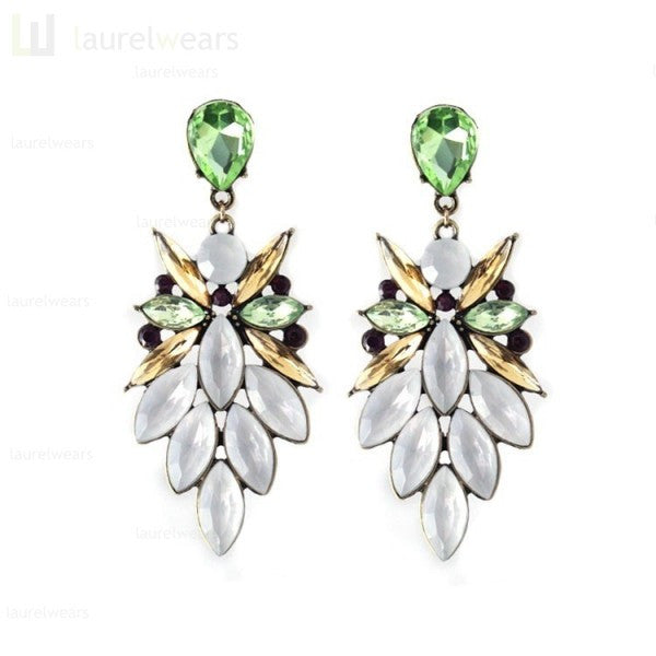 Bohemian Fashion Vogue Colorful Crystal Resin Drop Flower Long Earrings Shourouk Earrings - Pendants and Charms