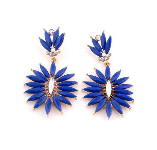 Bohemian Fashion Golden Deep Blue Resin Crystal Flower Dangle Long Earrings Shourouk Earrings - Pendants and Charms