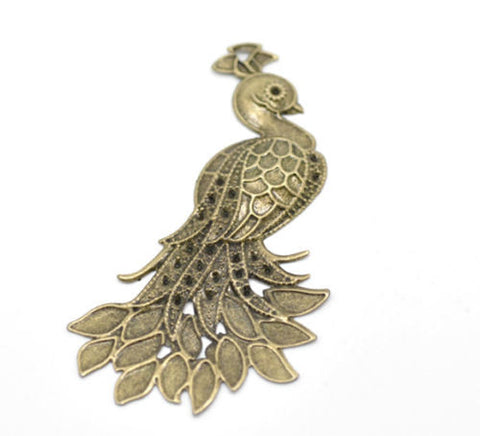 Bronze Tone Filigree Peacock Wraps Connectors Pendants 7x4.2cm - Pendants and Charms