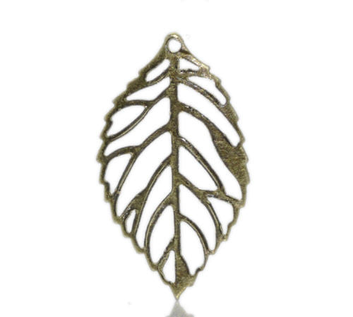 Bronze Tone Hollow Leaf Charm Pendants 24x13mm - Pendants and Charms