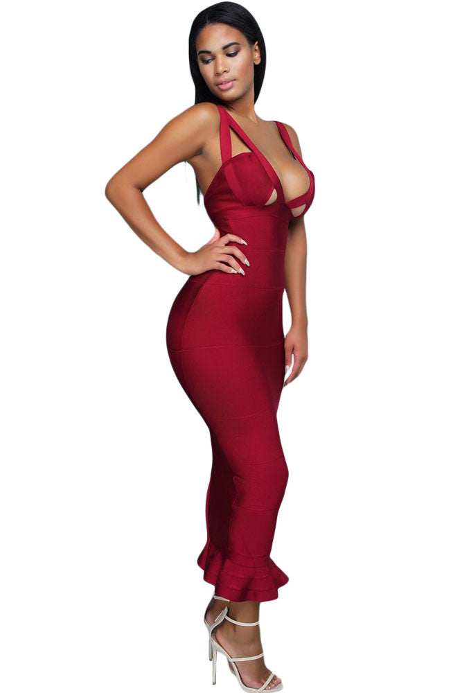 Burgundy Frill Long Sleeveless Bodycon Bandage Dress - Pendants and Charms