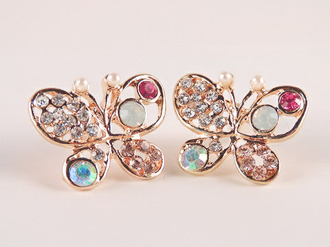 Fashion Women's Rhinestone Gold Plated Butterfly Ear Stud Earrings Jewellery - Pendants and Charms