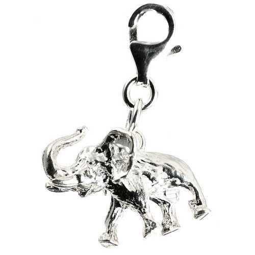 3D Elephant silver clip on Bead for Charm Bracelets Charms necklace - Pendants and Charms